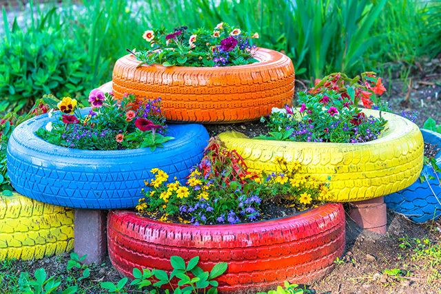 Photo of re-using tyres as planters