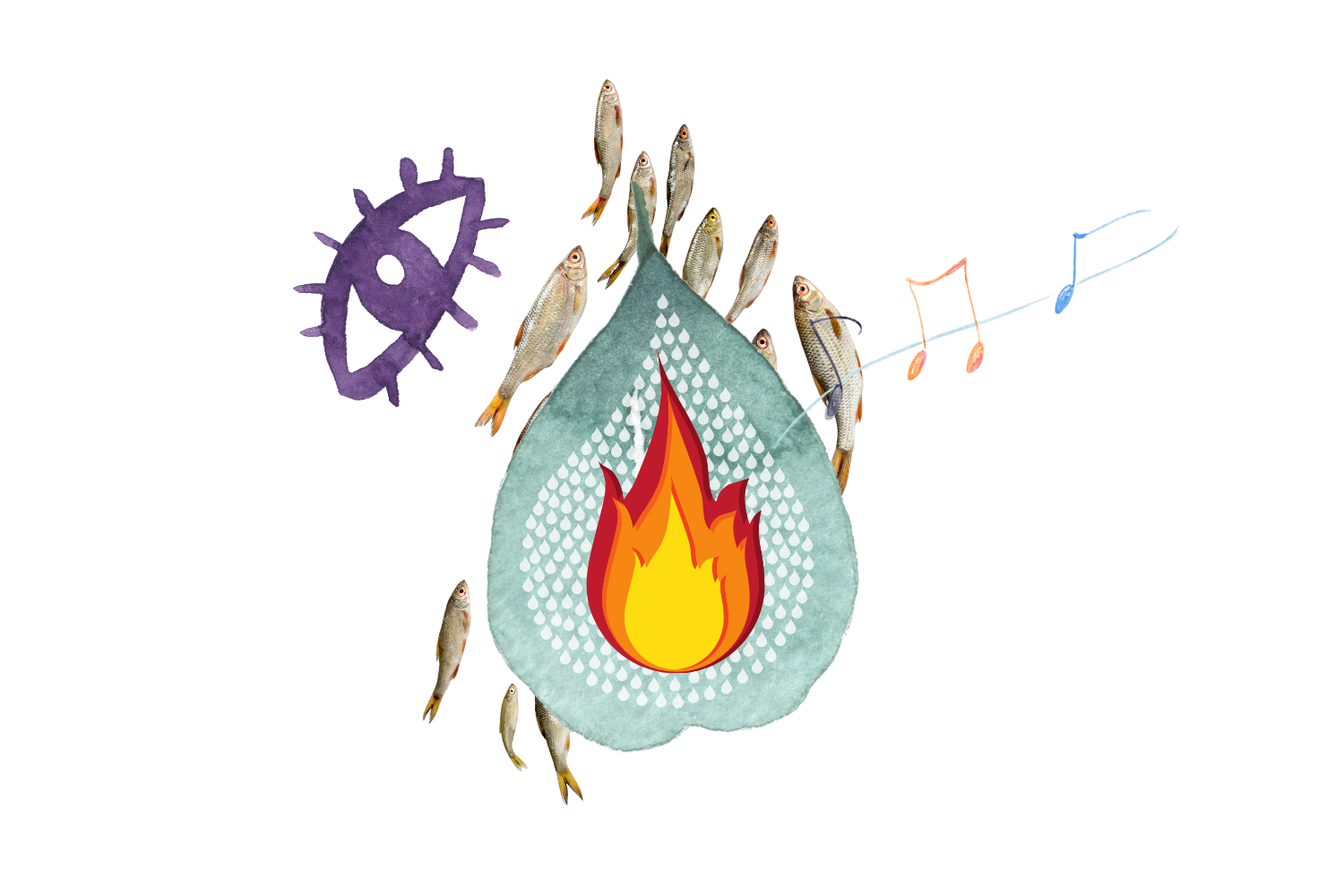 An abstract, absurd collection of images arranged to look like a water-drop. They include a green leaf overlapped by a water droplet which is overlapped by a flame. Behind these are a school of silver fish. An illustration of a purple eye floats at the top left, and music notes appear to be emerging from the centre.